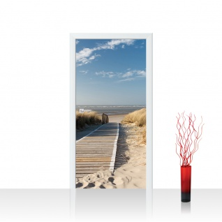 Türtapete - North Sea Dunes Strand Meer Ostsee Beach Blau Himmel Sonne Sommer | no. 38