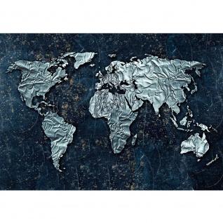 Fototapete Welt Tapete Weltkarte, metallic, Metall, Silber blau   no. 3295