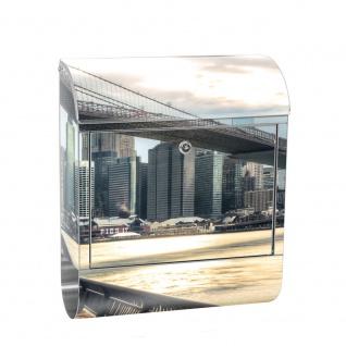 Edelstahl Wandbriefkasten XXL mit Motiv & Zeitungsrolle | New York USA Skyline Sephia Brooklyn Bridge NYC | no. 0043