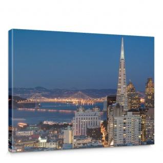 Leinwandbild Frisco Bay Bridge San Francisco Gebäude Wasser Strand Aussicht | no. 4574