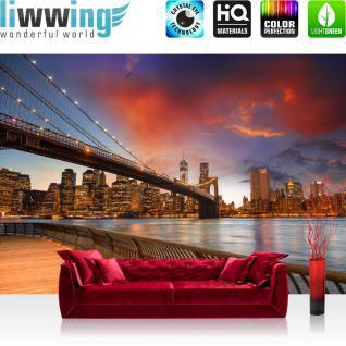liwwing Vlies Fototapete 300x210 cm PREMIUM PLUS Wand Foto Tapete Wand Bild Vliestapete - NEW YORK BRIDGES SKYLINE - New York City USA Amerika Empire State Building Big Apple - no. 021