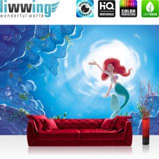liwwing Fototapete 368x254 cm PREMIUM Wand Foto Tapete Wand Bild Papiertapete - Kindertapete Tapete Disney Arielle Meerjungfrau Kindertapete Meer blau - no. 2220