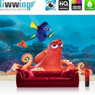 liwwing Fototapete 254x168 cm PREMIUM Wand Foto Tapete Wand Bild Papiertapete - Disney Tapete Findet Nemo Dory unter Wasser Fisch Cartoons Illustration bunt - no. 1293