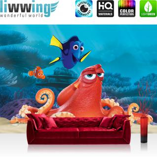 liwwing Vlies Fototapete 416x254cm PREMIUM PLUS Wand Foto Tapete Wand Bild Vliestapete - Disney Tapete Findet Nemo Dory unter Wasser Fisch Cartoons Illustration bunt - no. 1293