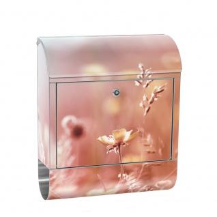 Edelstahl Wandbriefkasten XXL mit Motiv & Zeitungsrolle | Blumen Blüten Natur Rosa Wiese | no. 0198