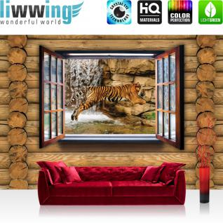 liwwing Vlies Fototapete 416x254cm PREMIUM PLUS Wand Foto Tapete Wand Bild Vliestapete - Holz Tapete Holzwand Holzoptik Holz Fenster Tiger Wasserfall Katze ocker - no. 1992