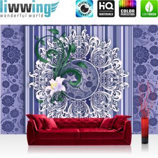 liwwing Vlies Fototapete 416x254cm PREMIUM PLUS Wand Foto Tapete Wand Bild Vliestapete - Blumen Tapete Blüten Orchidee Streifen Kunst Ornamente lila - no. 2631