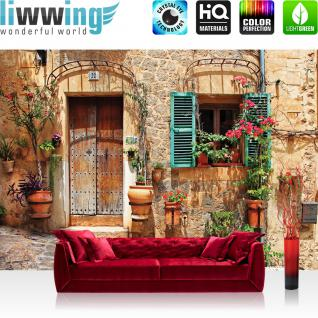 liwwing Fototapete 254x184cm PREMIUM Wand Foto Tapete Wand Bild Papiertapete - Stadt Tapete Mittelmeer mediterran Haus Tür natural - no. 3298