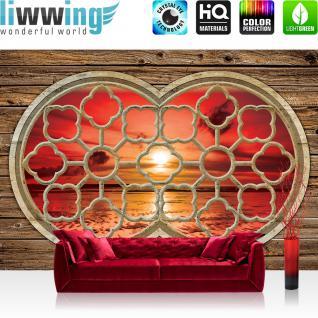 liwwing Vlies Fototapete 350x245 cm PREMIUM PLUS Wand Foto Tapete Wand Bild Vliestapete - 3D Tapete Abstrakt Kugel Murmel Beere Fenster Spiegel 3D grau - no. 569
