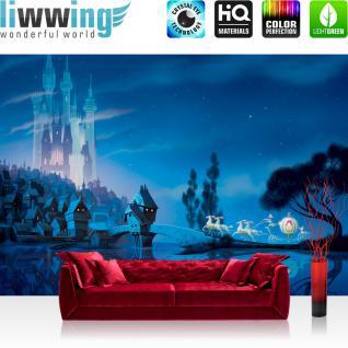 liwwing Vlies Fototapete 312x219cm PREMIUM PLUS Wand Foto Tapete Wand Bild Vliestapete - Kindertapete Tapete Disney Princesses Disney Cinderella Schloss Pferde Kutsche blau - no. 2244