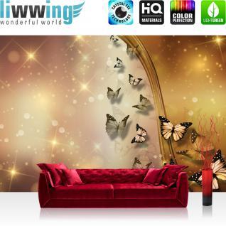 liwwing Fototapete 368x254 cm PREMIUM Wand Foto Tapete Wand Bild Papiertapete - Tiere Tapete Schmetterlinge Kunst Licht Punkte gold - no. 1551