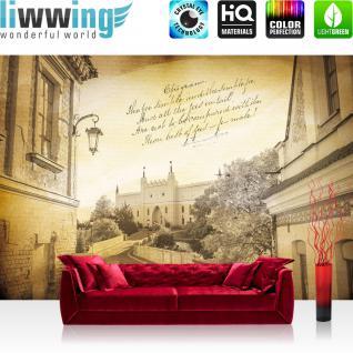 liwwing Vlies Fototapete 254x184cm PREMIUM PLUS Wand Foto Tapete Wand Bild Vliestapete - Stadt Tapete Altstadt Schloss Mittelalter Renaissance Gedicht gelb - no. 3518