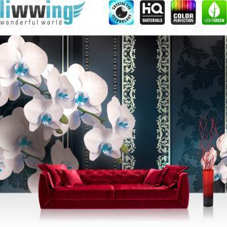 liwwing Vlies Fototapete 208x146cm PREMIUM PLUS Wand Foto Tapete Wand Bild Vliestapete - Orchideen Tapete Blumen Blüten Blätter Orchideen Streifen Perlen anthrazit - no. 2616