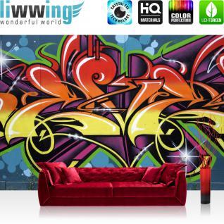 liwwing Vlies Fototapete 300x210 cm PREMIUM PLUS Wand Foto Tapete Wand Bild Vliestapete - Graffiti Tapete Jugendtapete Schrift bunt orange - no. 344