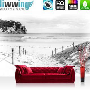 liwwing Vlies Fototapete 312x219cm PREMIUM PLUS Wand Foto Tapete Wand Bild Vliestapete - Strand Tapete Wasser Meer Weg schwarz weiß - no. 1849