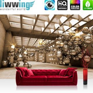 liwwing Vlies Fototapete 368x254cm PREMIUM PLUS Wand Foto Tapete Wand Bild Vliestapete - Architektur Tapete Arkaden Seifenblasen Kugeln braun - no. 3306
