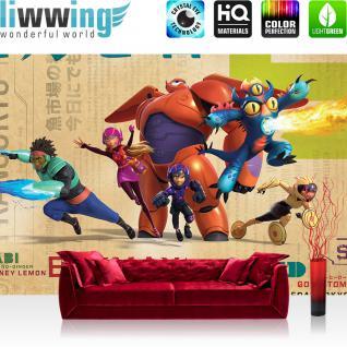 liwwing Vlies Fototapete 208x146cm PREMIUM PLUS Wand Foto Tapete Wand Bild Vliestapete - Cartoon Tapete Disney Big Hero 6 Baymax Wasabi NoGinger Gogo Tomago Hiro bunt - no. 1610
