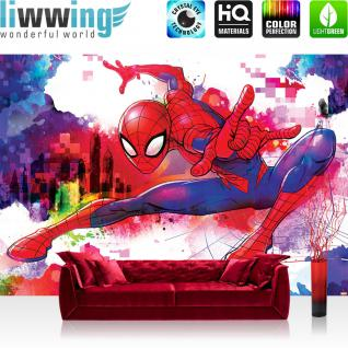 liwwing Vlies Fototapete 416x254cm PREMIUM PLUS Wand Foto Tapete Wand Bild Vliestapete - Marvel - SPIDERMAN Tapete Marvel Spiderman Cartoon bunt - no. 3385