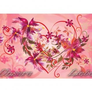 Fototapete Schriftkunst Tapete Ornamente Liebe Herzen Blumen Blüten Schriftzug Ranke rosa | no. 2069