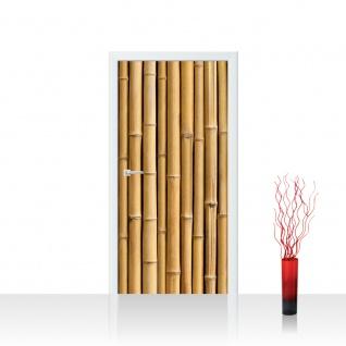 Türtapete - Golden Bamboo Bambus gold gelb beige Wald Bambuswald Natur Bäume | no. 83