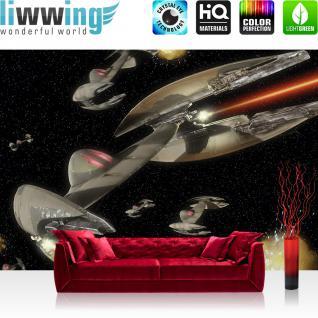 liwwing Vlies Fototapete 416x254cm PREMIUM PLUS Wand Foto Tapete Wand Bild Vliestapete - Disney Tapete Star Wars Weltall Droid Starfighter schwarz - no. 1606