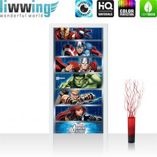 liwwing Türtapete selbstklebend 91x211 cm PREMIUM PLUS Tür Fototapete Türposter Türpanel Foto Tapete Bild - MARVEL Avengers Asemble Kindertapete Comic Held Krieger - no. 1138