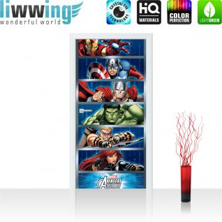 liwwing Vlies Türtapete 91x211 cm PREMIUM PLUS Tür Fototapete Türposter Türpanel Foto Tapete Bild - MARVEL Avengers Asemble Kindertapete Comic Held Krieger - no. 1138