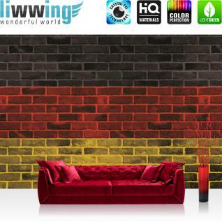 liwwing Vlies Fototapete 416x254cm PREMIUM PLUS Wand Foto Tapete Wand Bild Vliestapete - Steinwand Tapete Steinoptik Steine Deutschland Malerei Flagge anthrazit - no. 2504