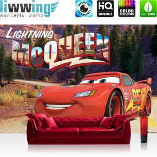 liwwing Vlies Fototapete 208x146cm PREMIUM PLUS Wand Foto Tapete Wand Bild Vliestapete - Kindertapete Disney - Cars Tapete Cars McQueen Autos Jungen rot - no. 3386