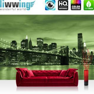 liwwing Vlies Fototapete 350x245 cm PREMIUM PLUS Wand Foto Tapete Wand Bild Vliestapete - Skylines Tapete Toronto Skyline Night Brücke grün - no. 669