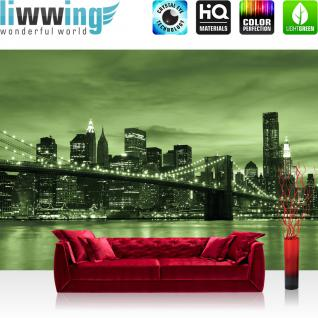 liwwing Vlies Fototapete 400x280 cm PREMIUM PLUS Wand Foto Tapete Wand Bild Vliestapete - Skylines Tapete Toronto Skyline Night Brücke grün - no. 669