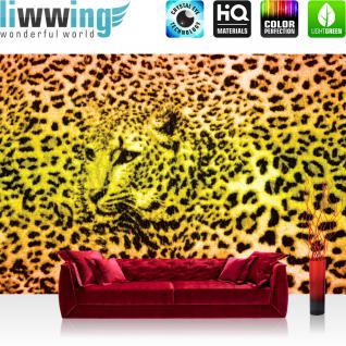 liwwing Vlies Fototapete 416x254cm PREMIUM PLUS Wand Foto Tapete Wand Bild Vliestapete - Tiere Tapete Leopard Muster Natur Flecken gelb - no. 1391