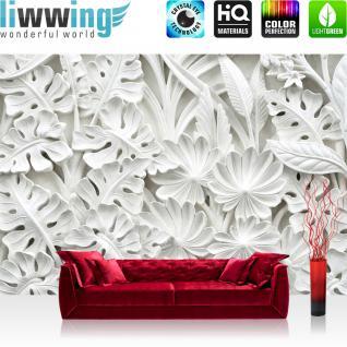 liwwing Vlies Fototapete 152.5x104cm PREMIUM PLUS Wand Foto Tapete Wand Bild Vliestapete - Ornamente Tapete Blätter Blüten Stuck Alabaster weiß - no. 3195