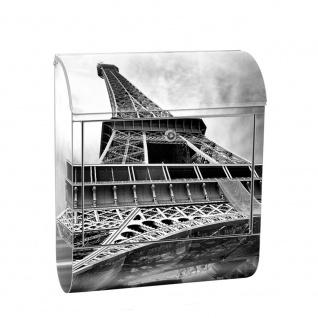 Edelstahl Wandbriefkasten XXL mit Motiv & Zeitungsrolle   Eiffelturm Paris Wolken Vintage   no. 0635