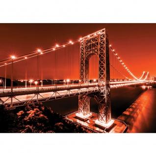 Fototapete Architektur Tapete Brücke Wasser Lichter Nacht rot   no. 2656