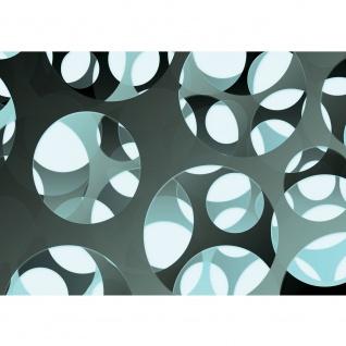 Fototapete 3D Tapete Abstrakt Kreise Löcher Wand Ausschnitt Design Moderne Kunst 3D Optik grau | no. 887