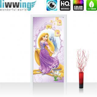 liwwing Vlies Türtapete 91x211 cm PREMIUM PLUS Tür Fototapete Türposter Türpanel Foto Tapete Bild - DISNEY Rapunzel Kindertapete Prinzessin Krone Schloss Lampion - no. 1066