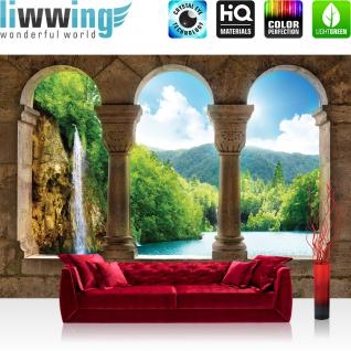 liwwing Vlies Fototapete 416x254cm PREMIUM PLUS Wand Foto Tapete Wand Bild Vliestapete - Wasser Tapete Wasserfall See BäumeWald Säulen Bogen Stein grün - no. 2941