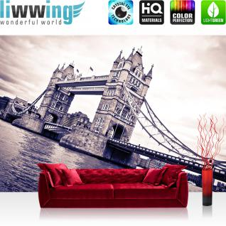 liwwing Vlies Fototapete 208x146cm PREMIUM PLUS Wand Foto Tapete Wand Bild Vliestapete - London Tapete Tower Bridge Themse Wasser Türme sepia - no. 2595