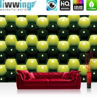 liwwing Vlies Fototapete 350x245 cm PREMIUM PLUS Wand Foto Tapete Wand Bild Vliestapete - Illustrationen Tapete Abstrakt Kugeln Mauer Retro Achtziger gelb - no. 1046