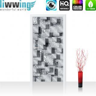 liwwing Vlies Türtapete 91x211 cm PREMIUM PLUS Tür Fototapete Türposter Türpanel Foto Tapete Bild - Abstrakt Rechtecke Platten Nieten 3D Optik - no. 883