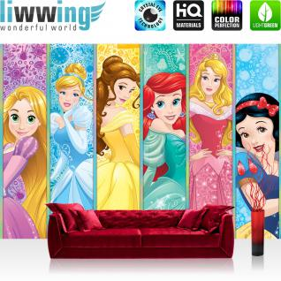 liwwing Fototapete 368x254 cm PREMIUM Wand Foto Tapete Wand Bild Papiertapete - Mädchen Tapete Disney Princesses Kindertapete Schneewitchen Arielle Cinderella bunt - no. 2162