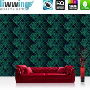 liwwing Vlies Fototapete 350x245 cm PREMIUM PLUS Wand Foto Tapete Wand Bild Vliestapete - Ornamente Tapete Muster grün - no. 380