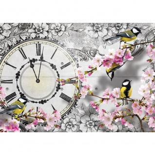 Fototapete Blumen Tapete Blüte Baum Vogel Malerei Uhr Zeit grau | no. 2467