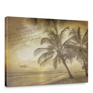 Leinwandbild Strand Muster Meer Palmen Schrift Vintage | no. 1292