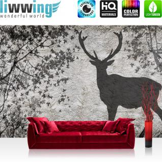 liwwing Fototapete 254x168 cm PREMIUM Wand Foto Tapete Wand Bild Papiertapete - Steinwand Tapete Steinwand Steinoptik Blätter Schatten Hirsch Baum grau - no. 912