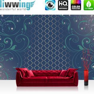 liwwing Vlies Fototapete 416x254cm PREMIUM PLUS Wand Foto Tapete Wand Bild Vliestapete - Illustrationen Tapete Ornamente Diamanten Muster Ranke blau - no. 3000