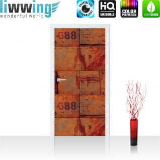 liwwing Vlies Türtapete 91x211 cm PREMIUM PLUS Tür Fototapete Türposter Türpanel Foto Tapete Bild - Abstrakt Wand Platten Zahlen Rost - no. 826