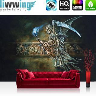 liwwing Vlies Fototapete 312x219cm PREMIUM PLUS Wand Foto Tapete Wand Bild Vliestapete - Illustrationen Alchemy Tapete Tod Teufel Hölle Sense bunt - no. 3504
