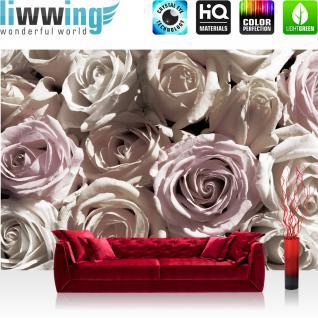 liwwing Fototapete 254x168 cm PREMIUM Wand Foto Tapete Wand Bild Papiertapete - Blumen Tapete Rose Blume Blüte Blätter Liebe sepia - no. 2463